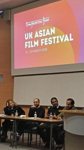 Panel discussion following the screening of Shalom Bollywood at Queen Mary University of London. From L to R: Prof. Rosie Thomas (University of Westminster), Dr Gil Toffell, Dr Ashvin Devasundaram (Queen Mary University of London) and Nurull Islam (director of My Great Journey).